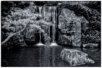Japanese Garden Waterfall in black and white - Minnesota Landscape Arboretum